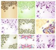 Uitstekende bloemengroetkaarten Royalty-vrije Stock Afbeeldingen