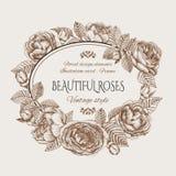 Uitstekende bloemenkaart met een kader van rozen Stock Foto's