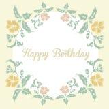 Uitstekende bloemenkaart met inschrijvings gelukkige verjaardag stock illustratie