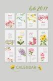Uitstekende bloemenkalender 2017 Royalty-vrije Stock Foto's