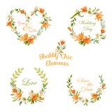 Uitstekende Bloemenmarkeringen, Etiketten en Banners - voor T-shirt, Manier stock illustratie