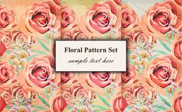 Uitstekende Bloemenpatroon Vectorachtergrond Grunge oude document texturen Stock Afbeelding