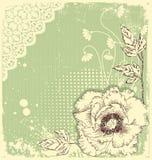 Uitstekende bloemenprentbriefkaar royalty-vrije illustratie