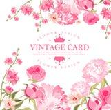 Uitstekende bloemkaart Vector illustratie Royalty-vrije Stock Afbeeldingen