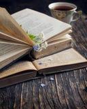 Uitstekende boeken en de zomer blauwe bloemen Royalty-vrije Stock Foto's