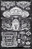 Uitstekende Bordbanners en Etiketten Royalty-vrije Stock Afbeelding