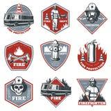 Uitstekende Brandbestrijdings Geplaatste Etiketten royalty-vrije illustratie