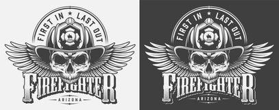 Uitstekende brandweerman zwart-wit drukken royalty-vrije illustratie