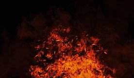 Uitstekende brandwondvlammen met deeltjessintels op geïsoleerde zwarte achtergrond Het effect van de brandtextuur achtergrond royalty-vrije stock fotografie