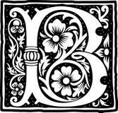 Uitstekende brief B in zwart-wit Royalty-vrije Stock Foto