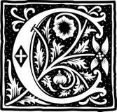 Uitstekende brief C in zwart-wit Stock Afbeelding