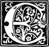 Uitstekende brief E in zwart-wit Royalty-vrije Stock Afbeeldingen