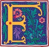Uitstekende brief F in kleur Stock Fotografie