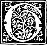Uitstekende brief G in zwart-wit Royalty-vrije Stock Foto