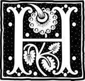 Uitstekende brief H in zwart-wit Stock Foto