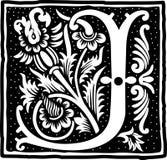 Uitstekende brief J in zwart-wit Royalty-vrije Stock Foto