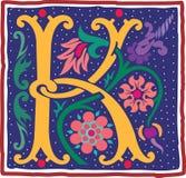 Uitstekende brief K in kleur Royalty-vrije Stock Afbeeldingen