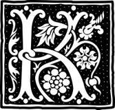 Uitstekende brief K in zwart-wit Royalty-vrije Stock Afbeelding