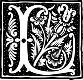 Uitstekende brief L in zwart-wit Royalty-vrije Stock Fotografie