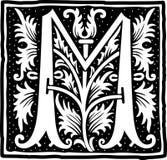Uitstekende brief M in zwart-wit Stock Afbeelding