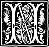 Uitstekende brief N in zwart-wit Royalty-vrije Stock Afbeeldingen
