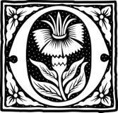 Uitstekende brief O in zwart-wit Stock Afbeelding
