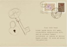 Uitstekende brief op oud document met retro postzegels royalty-vrije illustratie