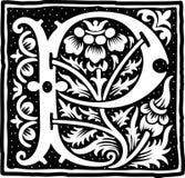 Uitstekende brief P in zwart-wit Stock Afbeelding