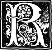 Uitstekende brief R in zwart-wit Stock Foto