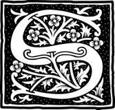 Uitstekende brief S in zwart-wit Stock Foto