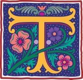 Uitstekende brief T in kleur Stock Afbeelding