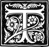 Uitstekende brief T in zwart-wit Stock Afbeelding