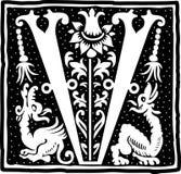 Uitstekende brief V in zwart-wit Stock Afbeeldingen