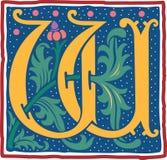Uitstekende brief W in kleur Royalty-vrije Stock Afbeelding