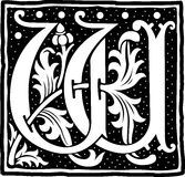 Uitstekende brief W in zwart-wit Stock Afbeeldingen