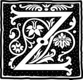 Uitstekende brief Z in zwart-wit Stock Afbeeldingen