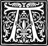 Uitstekende brief A in zwart-wit Royalty-vrije Stock Fotografie