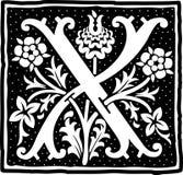 Uitstekende brief X in zwart-wit Royalty-vrije Stock Afbeelding