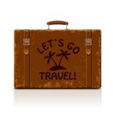 Uitstekende bruine threadbare koffer met riemen en gespen isolat Stock Foto