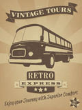 Uitstekende Bus Retro Reclameaffiche Stock Afbeeldingen
