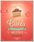 Uitstekende Cakesaffiche. Stock Afbeeldingen