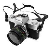 Uitstekende camera die op witte achtergrond DSLR wordt geïsoleerdg Royalty-vrije Stock Foto's