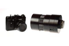 Uitstekende camera en lens Stock Foto's