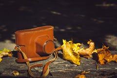 Uitstekende camera op houten bank Royalty-vrije Stock Fotografie
