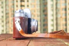 Uitstekende camera op lijst De ruimte van het exemplaar Royalty-vrije Stock Afbeeldingen