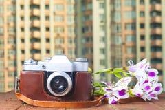 Uitstekende camera op lijst De ruimte van het exemplaar Royalty-vrije Stock Foto's