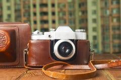 Uitstekende camera op lijst De ruimte van het exemplaar Stock Afbeelding