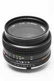 Uitstekende cameraDSLR lens op wit Stock Foto