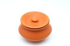 Uitstekende Ceramische die Pot op Witte Achtergrond wordt geïsoleerd Royalty-vrije Stock Afbeeldingen