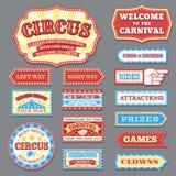 Uitstekende circusetiketten en Carnaval-uithangborden vectorinzameling stock illustratie